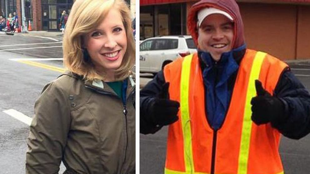 WDBJ in Virginia shared these image of reporter Alison Parker and Adam Ward after reporting that they had been killed in a shooting on Aug. 26, 2015.