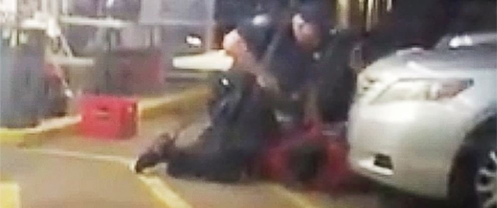 PHOTO: In this photo made from video, Alton Sterling is held by two Baton Rouge police officers outside a convenience store in Baton Rouge, Louisiana, July 5, 2016, moments before Sterling was fatally shot.