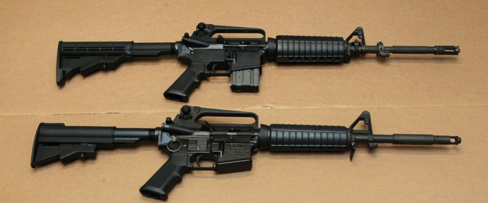 PHOTO: Three variations of the AR-15-style assault rifle are displayed at the California Department of Justice in Sacramento, Calif., Aug. 15, 2012.