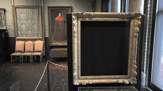 "PHOTO: Empty frames from which thieves took ""Storm on the Sea of Galilee,"" left background, by Rembrandt and ""The Concert,"" right foreground, by Vermeer, remain on display at the Isabella Stewart Gardner Museum in Boston, March 11, 2010."