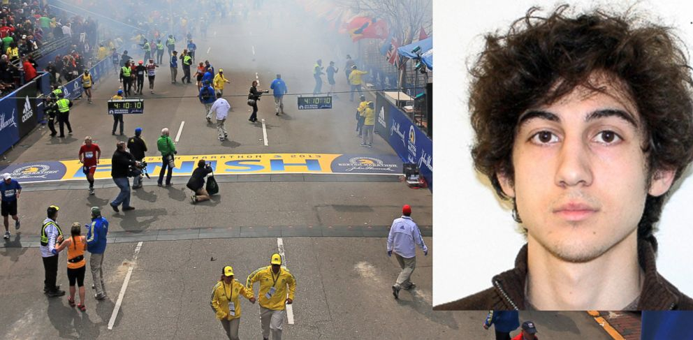 PHOTO: Smoke rises after two explosions went off near the finish line of the 117th Boston Marathon, April 15, 2013. FBI released an image of suspect Dzhokhar Tsarnaev before he was apprehended.