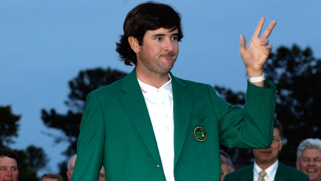 PHOTO: Bubba Watson puts on the green jacket after winning the Masters golf tournament following a sudden death playoff on the 10th hole, April 8, 2012, in Augusta, Ga.