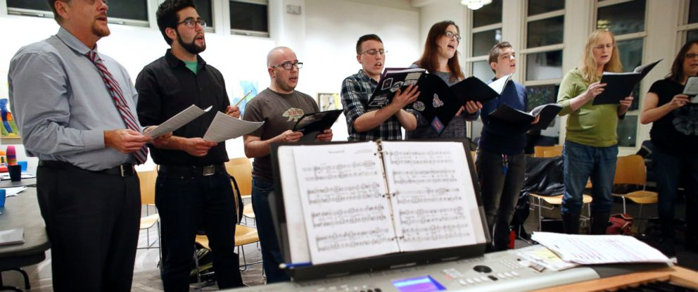 PHOTO: Members of the Butterfly Music Transgender Chorus sing during a rehearsal at a church in Cambridge, Mass on Oct. 7, 2015.