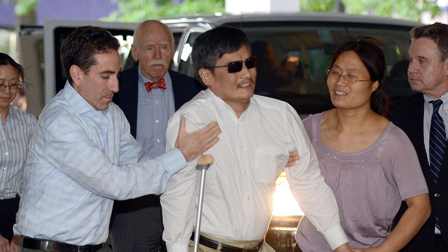 PHOTO: Blind Chinese legal activist Chen Guangcheng arrives at Washington Square Village on the campus of New York University, May 19, 2012.