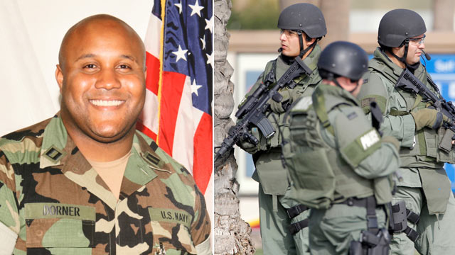 PHOTO: This undated photo released by the Los Angeles Police Department shows suspect Christopher Dorner, a former Los Angeles officer; right, police officers stand near the site of a police shooting on Feb. 7, 2013 in Corona, Calif. where Dorner is sus