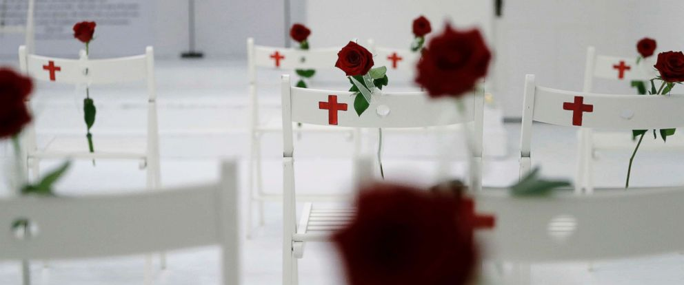 PHOTO: A memorial for the victims of the shooting at Sutherland Springs First Baptist Church, including 26 white chairs each painted with a cross and and rose, is displayed in the church Sunday, Nov. 12, 2017.