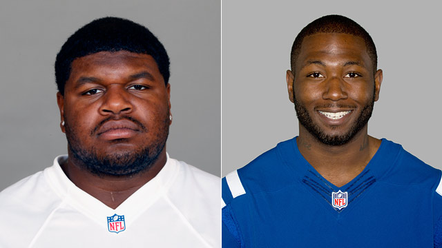 PHOTO: Josh Brent of the Dallas Cowboys NFL football team and Jerry Brown (R), NFL football player of the Indianapolis Colts are shown in these 2012 file photos.