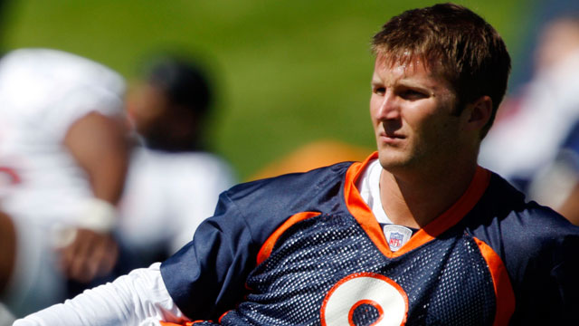 PHOTO: Denver Broncos backup quarterback Cullen Finnerty stretches at the teams headquarters in Denver, May 29, 2008.