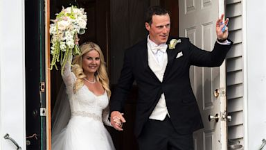 PHOTO: Toronto Maple Leafs captain Dion Phaneuf and actress Elisha Cuthbert leave the church from their wedding at St. James Catholic Church in Summerfield, Prince Edward Island, Canada, July 6, 2013.