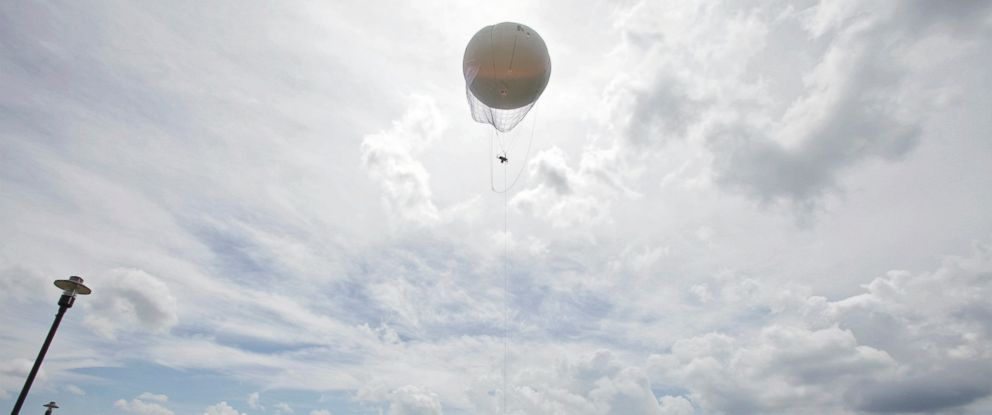 PHOTO: In this June 26, 2014 photo, crews help with launching a new Ohio Dept. of Transportation surveillance blimp at the Ohio/Indiana Unmanned Aircraft Systems Center in Clintonville, Ohio.