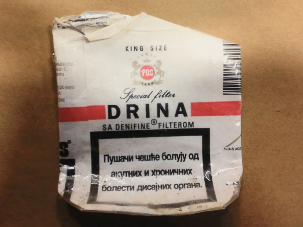 PHOTO: A police photo shows the used Serbian cigarette pack believed used by accused trooper killer Eric Frein during a news conference in the Blooming Grove Municipal Township Building in Blooming Grove, Pa., on Sept 24, 2014.