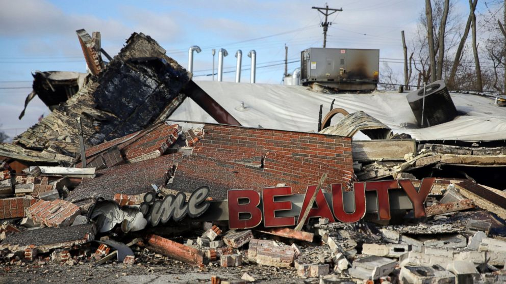 One of the buildings burned to the ground during protests after a grand jurt decided not to indict a police officer in the killing of an unarmed teenager, Nov. 25, 2014, Dellwood, Mo.