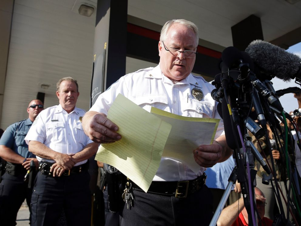 PHOTO: Ferguson Police Chief Thomas Jackson releases the name of the the officer accused of fatally shooting an unarmed black teenager, Aug. 15, 2014, in Ferguson, Mo.