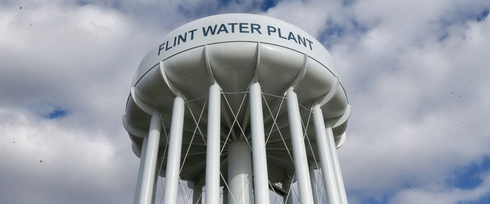 PHOTO: In a March 21, 2016 photo, the Flint Water Plant water tower is seen in Flint, Mich.