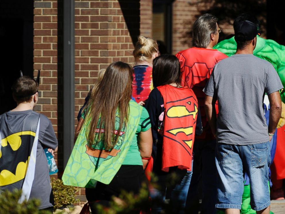 PHOTO: Friends and family arrive before a superhero-themed funeral service for Jacob Hall at Oakdale Baptist Church, Oct. 5, 2016, in Townville, South Carolina.