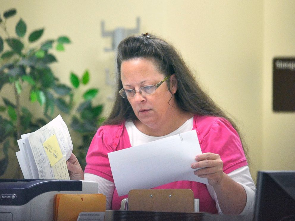 PHOTO: Rowan County Clerk Kim Davis performs her job at the Rowan County Courthouse in Morehead, Ky., Aug. 18, 2015.