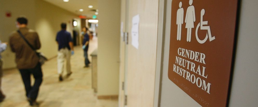 PHOTO: A sign marks the entrance to a gender neutral restroom at the University of Vermont in Burlington, Vt., Aug. 23, 2007.