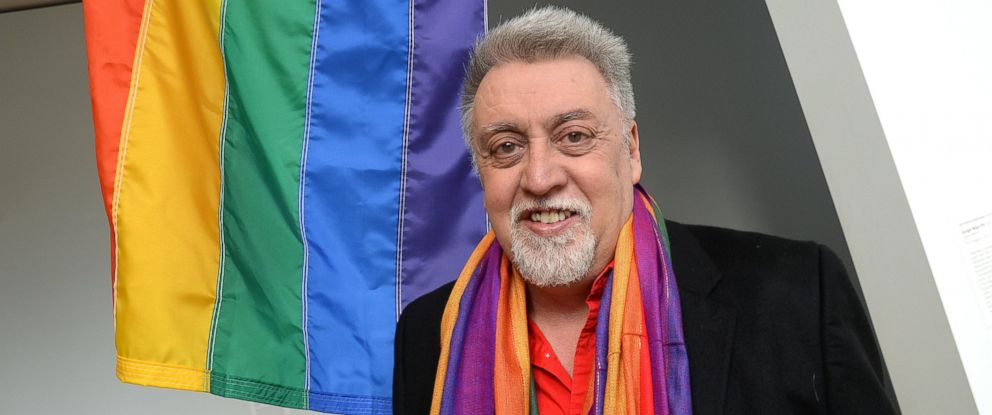 PHOTO: Gilbert Baker, Rainbow Flag Creator, poses at the Museum of Modern Art (MoMA) in New York, NY, on January 7, 2016.