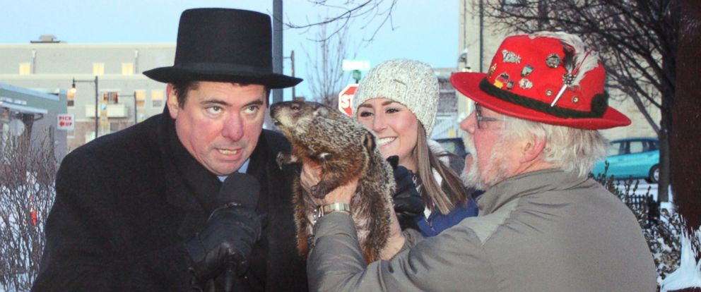 PHOTO: Sun Prairie Mayor Jon Freund, left, leans in for Jimmys prognostication just before being bitten on ear by the groundhog during the Groundhog Day celebration on Feb. 2, 2015, in Sun Prairie, Wis.