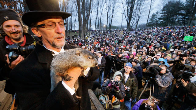 PHOTO: Groundhog Club handler Ron Ploucha holds Punxsutawney Phil, the weather prognosticating groundhog, during the 126th celebration of Groundhog Day on Gobblers Knob in Punxsutawney, Pa., Feb. 2, 2012.