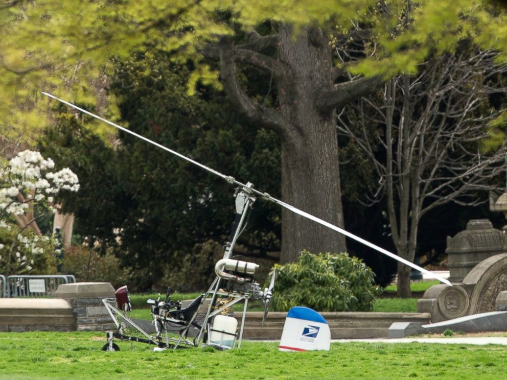 PHOTO: A small helicopter sits on the West Lawn of the Capitol in Washington, April 15, 2015.