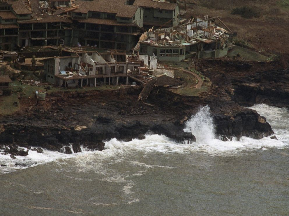 PHOTO: A Poipu Beach resort on the Hawaiian island of Kauai is heavily damaged following high winds and rain from Hurricane Iniki, Sept. 12, 1992.