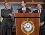 PHOTO: Senator Marco Rubio (C), R-Fla., speaks alongside (L-R) Senator John McCain, R-Ariz., Senator Chuck Schumer, D-N.Y., Senator Robert Menendez, D-N.J., and Senator Dick Durbin, D-Ill., during a press conference on an agreement for principles on compr