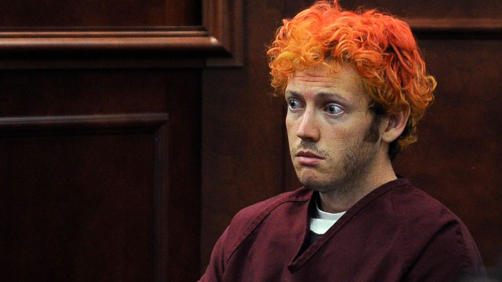 In this July 23, 2012, file photo, James E. Holmes appears in Arapahoe County District Court in Centennial, Colo. Holmes was being held on suspicion of first-degree murder, and facing additional counts of aggravated assault and weapons violations stemming from the mass shooting in a movie theater in Aurora, Colo., that killed 12 and injured 70 others.