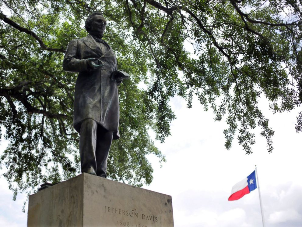 PHOTO: In this May 5, 2015 file photo, a statue of Jefferson Davis is seen on the University of Texas campus in Austin, Texas.