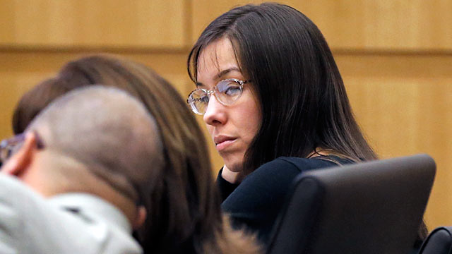PHOTO: Jodi Arias watches her lawyers speak during her trial in Maricopa County Superior court, Jan. 9, 2013, in Phoenix AZ.