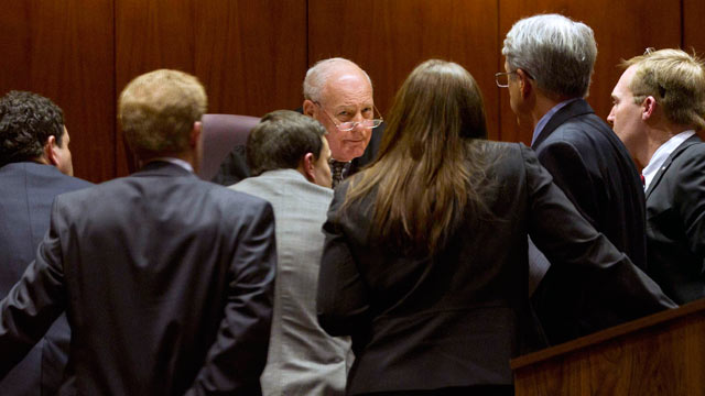 PHOTO: Jefferson County District Judge Tommy Nail talks with attorneys at the Mel Bailey Criminal Justice Center in Birmingham, Ala.,Feb. 13, 2012, during jury selection for the trial of Gabe Watson.