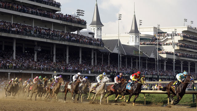 PHOTO: Bodemeister with jockey Mike Smith leads the field around the first turn in the 138th Kentucky Derby horse race at Churchill Downs Saturday, May 5, 2012, in Louisville, Ky.
