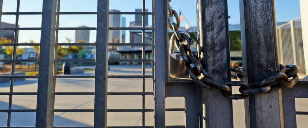 PHOTO: A lock holds the gate shut at Edward Roybal High School in Los Angeles, Dec. 15, 2015.