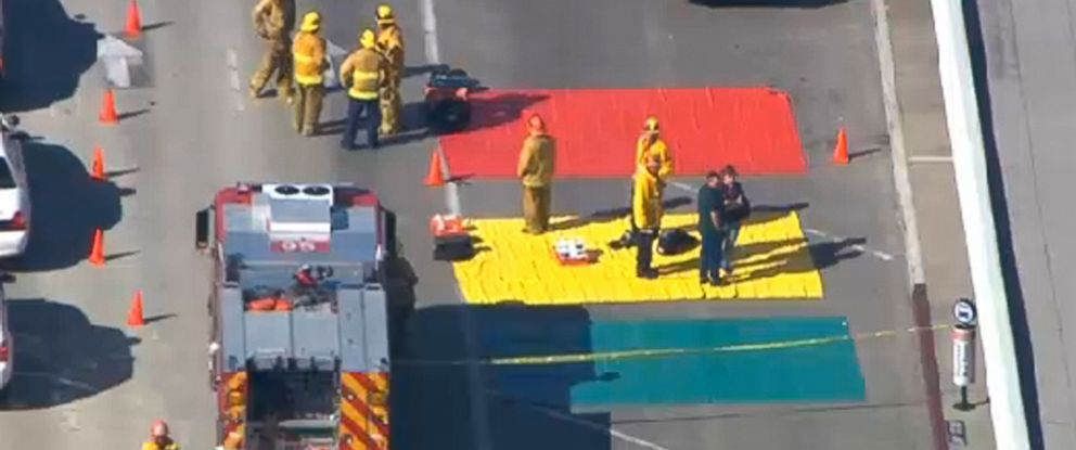 PHOTO: In this aerial video frame grab provided by CBS-LA, fire and rescue personnel gather at Los Angeles International Airport on Nov. 1, 2013.
