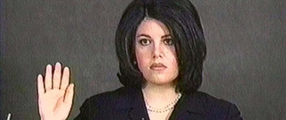 PHOTO: Monica Lewinsky is pictured in a video grab as she is sworn in for her deposition on Feb. 1, 1999.