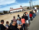 PHOTO: Thousands of people wait in line to buy tickets for the Mega Millions Lottery jackpot at the Primm Valley Casino Resorts Lotto store in California near Primm, Nev., March 29, 2012.
