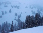 PHOTO: Snow falls near the spot where five members of a backcountry snowboarder group were found dead after they were trapped by an avalanche on Loveland Pass, Colo., April 20, 2013.
