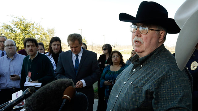 PHOTO: Mike McLelland, District Attorney of Kaufman County answers questions at a news conference at the Kaufman Law Enforcement Center in Kaufman, Texas, Jan. 31, 2013.