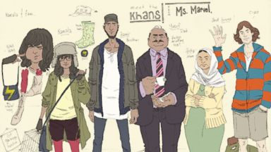 "PHOTO: This comic book image released by Marvel Comics shows character Kamala Khan , second left, with her family Aamir, father Yusuf, mother Disha and friend Bruno, from the ""Ms. Marvel"" issue."