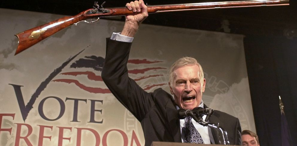 "PHOTO: National Rifle Association president Charlton Heston addresses gun owners during a ""get-out-the-vote"" rally in Manchester, N.H., in this Oct. 21, 2002 photo."