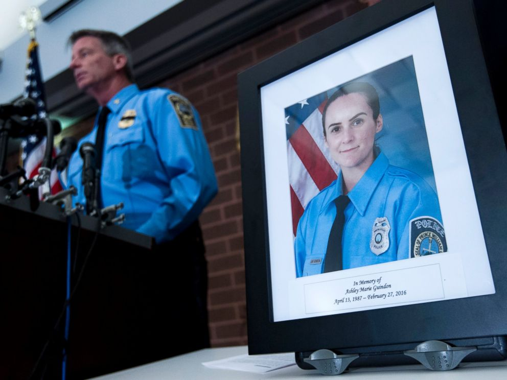 PHOTO: Prince William County Police Chief Stephan Hudson speaks during a news conference next to a picture of Ashley Guindon at Western District Station, in Manassas, Va., Feb. 28, 2016, about a fatal shooting Saturday evening.