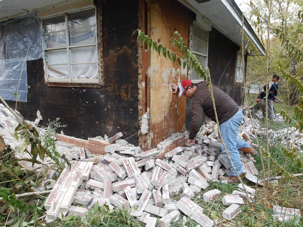 PHOTO: This Nov. 6, 2011 file photo shows earthquake damage in Sparks, Okla. on after two earthquakes hit the area in less than 24 hours.