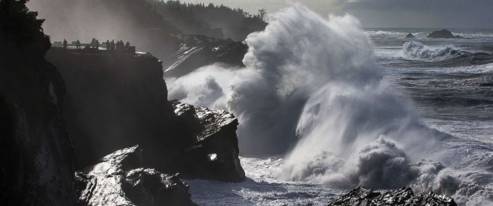 PHOTO: A wave crashes on the rocks in front of the viewing area at Shore Acres State Park near Charleston, Ore., Friday Jan. 19, 2018.