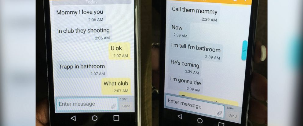 PHOTO: Mina Justice shows a text message she received from her son Eddie Justice at Pulse nightclub during a fatal shooting in Orlando, Fla., June 12, 2016.