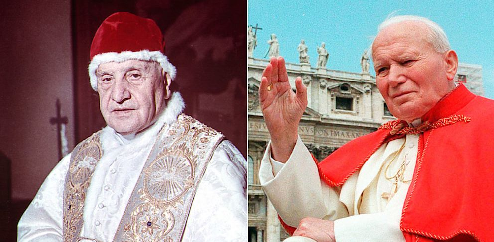 PHOTO: Pope John XXIII (left) and Pope John Paul II have been approved for sainthood by the Vatican on July 5, 2013.