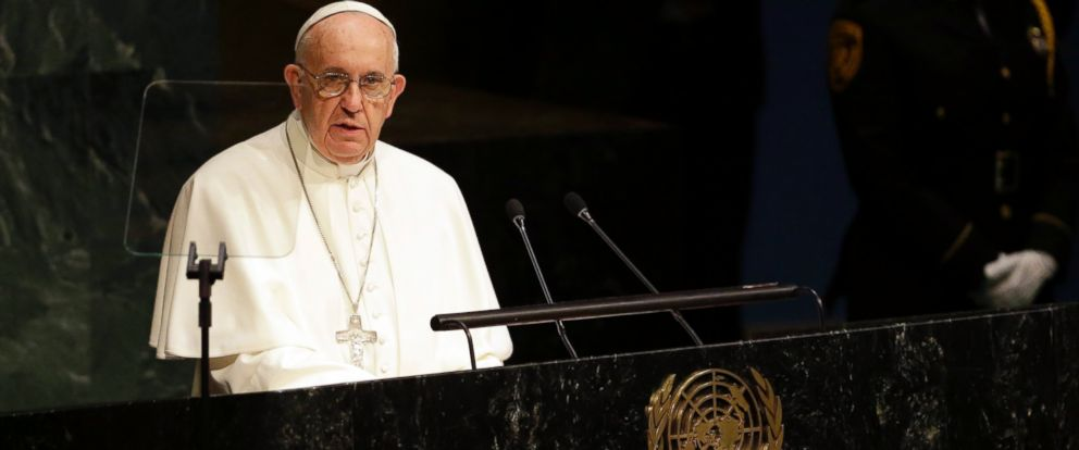 PHOTO: Pope Francis addresses the 70th session of the United Nations General Assembly, Sept. 25, 2015 at United Nations headquarters.