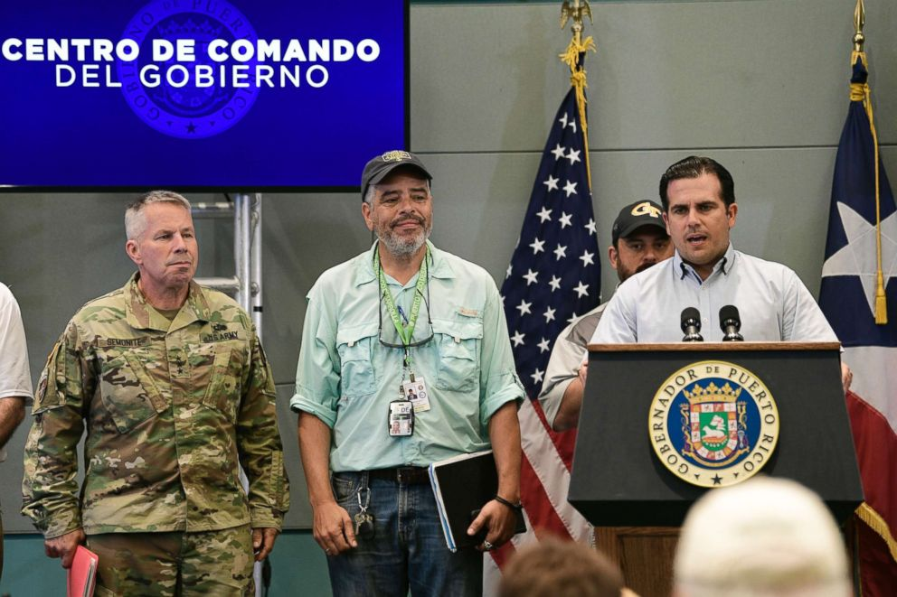 PHOTO: Lt. Gen. Todd Semonite of the U.S. Army Corps of Engineers (left), the now-former executive director of the Puerto Rico Electric Power Authority Ricardo Ramos, and Puerto Rico Gov. Ricardo Rossello in San Juan, Puerto Rico, on Sept. 30, 2017.