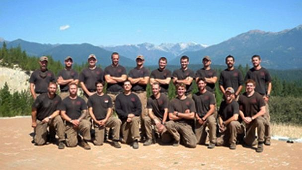 PHOTO: Unidentified members of the Granite Mountain Interagency Hotshot Crew from Prescott, Ariz., pose together in this undated photo provided by the City of Prescott. Some of the men in this photograph were among the 19 firefighters killed while battlin