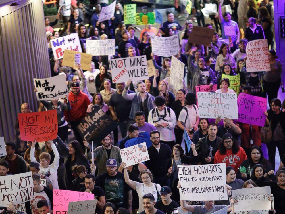 PHOTO: Protesters against President-elect Donald Trump march along the Las Vegas Strip, Saturday, Nov. 12, 2016, in Las Vegas.