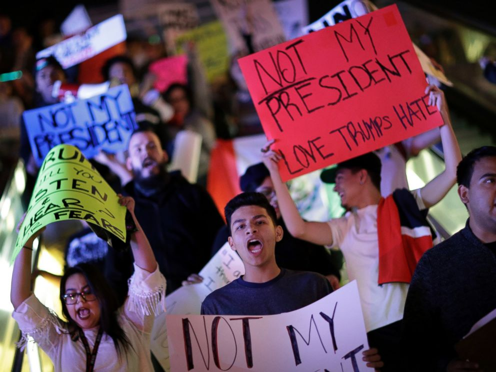 PHOTO: Protesters demonstrate in opposition to the election of President-elect, Donald Trump, as they march along the Las Vegas Strip, Saturday, Nov. 12, 2016, in Las Vegas.
